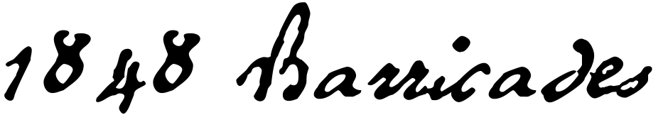 Click to view  1848 Barricades font, character set and sample text