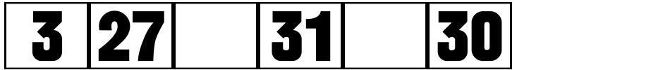 Click to view  Calendar Blocks JNL font, character set and sample text