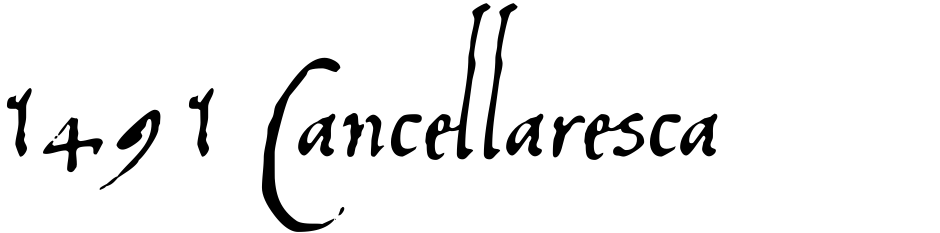 Click to view  1491 Cancellaresca font, character set and sample text