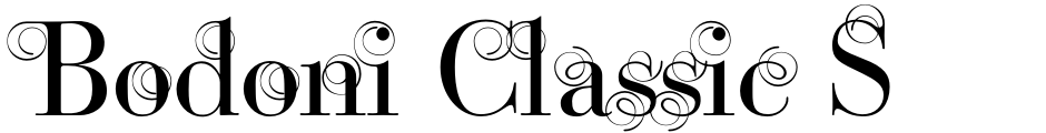 Click to view  Bodoni Classic Swirls font, character set and sample text