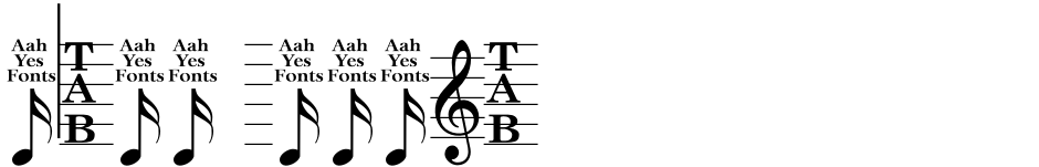 Click to view  Music Sheets font, character set and sample text