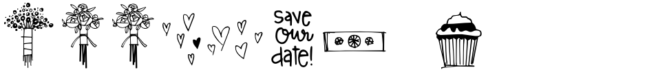 Click to view  Wedding Doodles Too font, character set and sample text