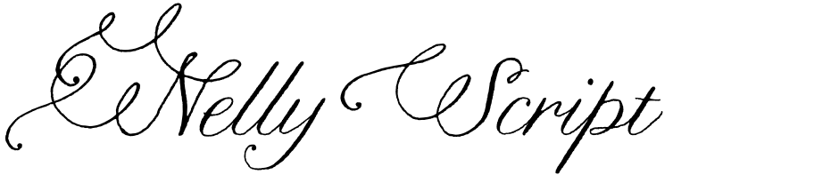 Click to view  Nelly Script Flourish font, character set and sample text