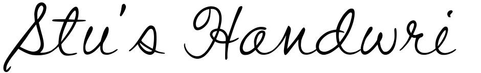 Click to view  Stu's Handwriting font, character set and sample text