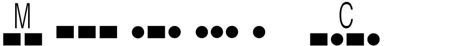 Click to view  Morse Code font, character set and sample text