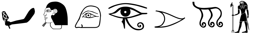 Click to view  Egyptian Hieroglyphics - The Egyptologist font, character set and sample text