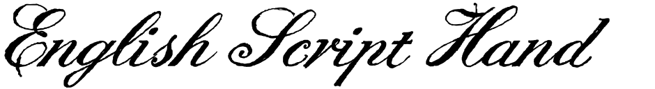 Click to view  English Script Hand font, character set and sample text