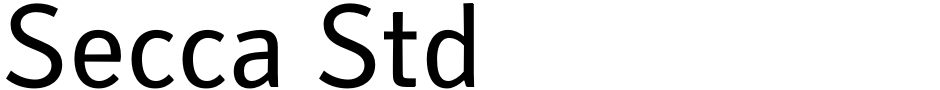 Click to view  Secca Std font, character set and sample text