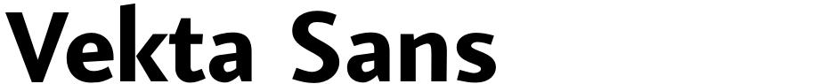 Click to view  Vekta Sans font, character set and sample text