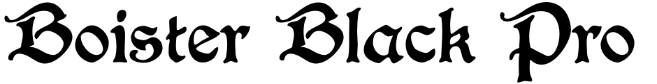 Click to view  Boister Black Pro font, character set and sample text
