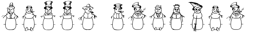 Click to view  Merry Snowmen font, character set and sample text