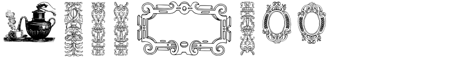 Click to view  Mortised Ornaments font, character set and sample text
