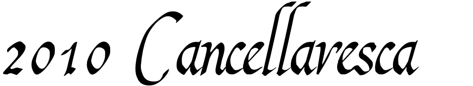 Click to view  2010 Cancellaresca Recens font, character set and sample text