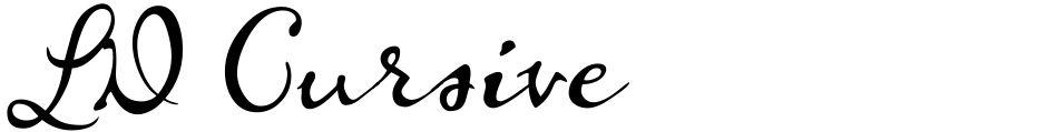 Click to view  LD Cursive font, character set and sample text