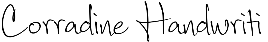 Click to view  Corradine Handwriting font, character set and sample text