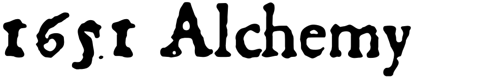 Click to view  1651 Alchemy font, character set and sample text