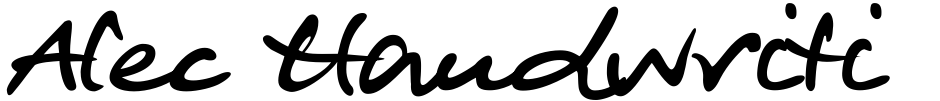 Click to view  Alec Handwriting font, character set and sample text