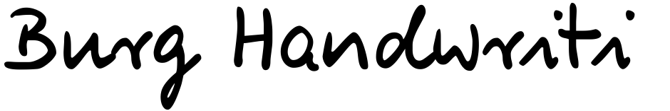 Click to view  Burg Handwriting font, character set and sample text