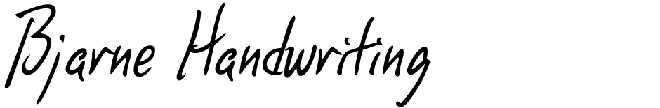 Click to view  Bjarne Handwriting font, character set and sample text