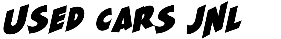 Click to view  Used Cars JNL font, character set and sample text
