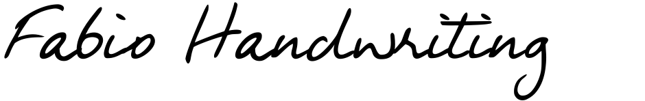 Click to view  Fabio Handwriting font, character set and sample text