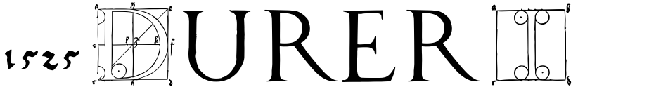 Click to view  1525 Durer Initials font, character set and sample text