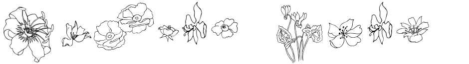 Click to view  Flower Sketch font, character set and sample text