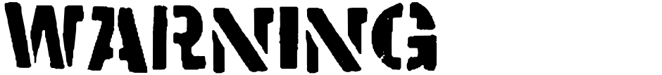 Click to view  WARNING font, character set and sample text