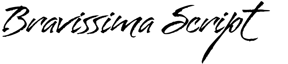 Click to view  Bravissima Script font, character set and sample text