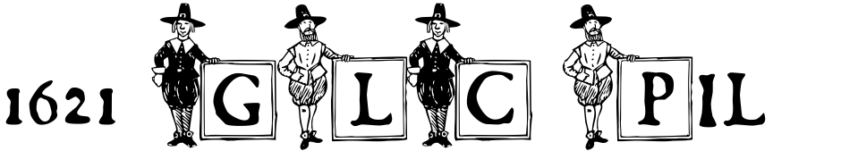 Click to view  1621 GLC Pilgrims font, character set and sample text