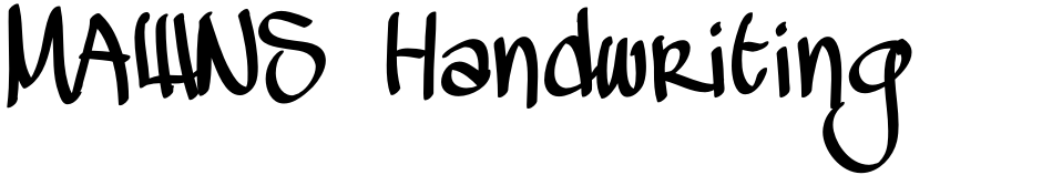 Click to view  MAWNS Handwriting font, character set and sample text