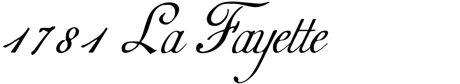 Click to view  1781 La Fayette font, character set and sample text