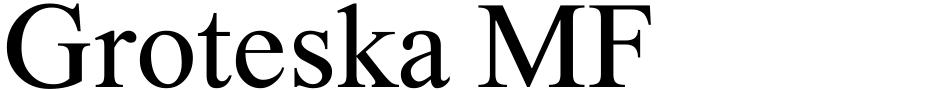 Click to view  Groteska MF font, character set and sample text