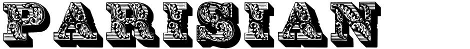 Click to view  Parisian Ornamentals font, character set and sample text