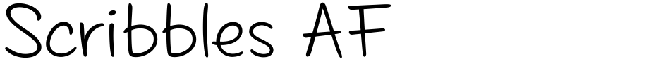 Click to view  Scribbles AF font, character set and sample text
