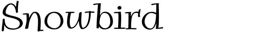 Click to view  Snowbird font, character set and sample text