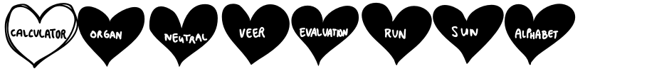 Click to view  Conversation Hearts font, character set and sample text