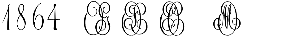 Click to view  1864 GLC Monogram font, character set and sample text