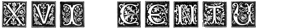 Click to view  XVI Century Shaw Woodcuts font, character set and sample text
