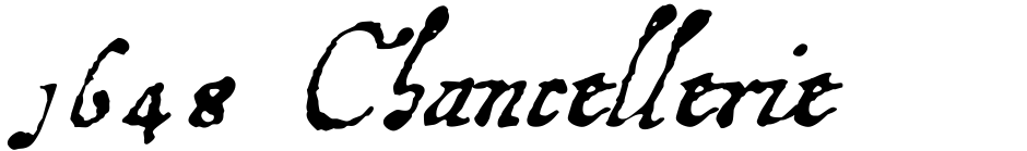 Click to view  1648 Chancellerie font, character set and sample text