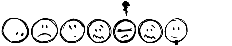 Click to view  Sketchy Smiley font, character set and sample text