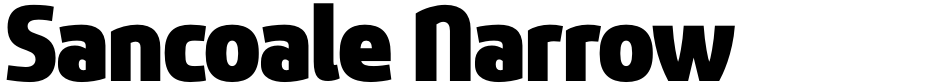Click to view  Sancoale Narrow font, character set and sample text