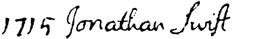 Click to view  1715 Jonathan Swift font, character set and sample text