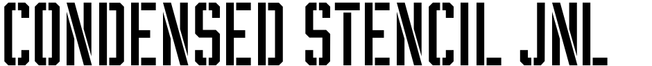 Click to view  Condensed Stencil JNL font, character set and sample text