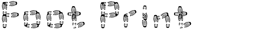 Click to view  Foot Print font, character set and sample text