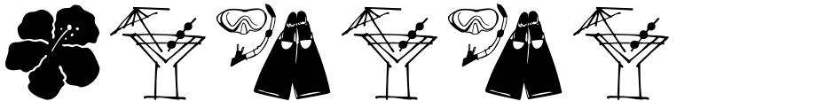 Click to view  Waikiki Doodles font, character set and sample text