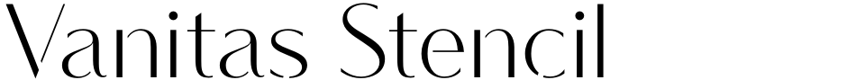Click to view  Vanitas Stencil font, character set and sample text