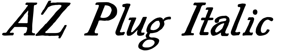 Click to view  AZ Plug Italic font, character set and sample text