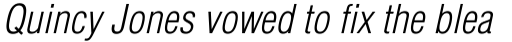 Helvetica Light Condensed Oblique sample