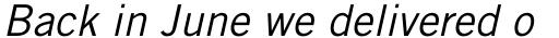 Trade Gothic Pro Oblique sample